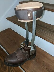 Vintage Polio Leg Brace  Leather Metal Medical Steampunk Oddity size 9 left