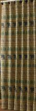 Lodge Bear Tracks Shower Curtain Green, Black, Mustard, Tan 72x72 Cotton Cabin
