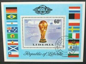 LIBERIA 1974 World Cup Football Championships. SOUVENIR SHEET. USED CTO SGMS1209
