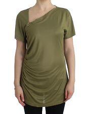 NEW $330 CLASS ROBERTO CAVALLI T-Shirt Green Jersey Top Blouse Tunic IT 1/US4