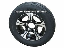 "AM01BK 175/80R13 LRC Radial Trailer Tire on 13"" 5 Lug Aluminum Trailer Wheel"