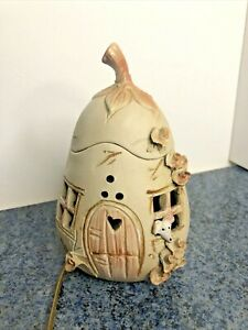 Vintage Pottery Ceramic Night Light Lamp Mouse in Pear House As Found