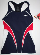 Tyr Womens Large Red White Navy Blue Fitted Tankini Singlet Triathlon Competitor