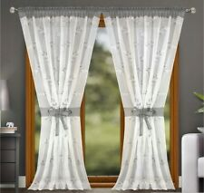PAIR READY MADE CURTAINS grey White VOILE TAPE TOP
