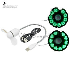 Mini USB LED Clock Green Fan Powered Cooling Flashing Real Time Display Function