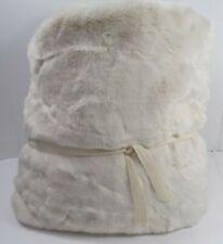 "Pottery Barn Oversized Faux Fur Alpaca Throw Blanket 60 x 80"" Ivory #8277"