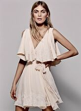 NEW Free People petal pink Embroidered Beaded Ruffle Wrap Belted Mini Dress M