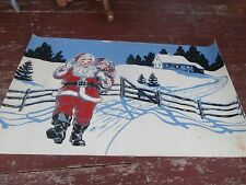 vintage christmas corobuff corrugated paper with old fashioned santa in snow