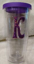 24 Oz. K Purple Sequins Glitter Tervis Tumbler Double Walled Made In The USA EUC
