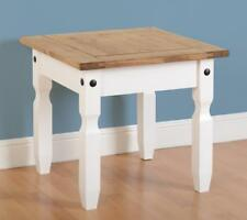 CORONA Lamp Table in White & Distressed Waxed Pine - Next Day Delivery