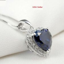 Women Necklace 4 Carat Ocean Sapphire Heart Sterling Silver Pendant w Chain P25