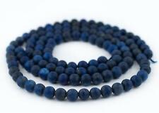 Matte Round Lapis Lazuli Beads 6mm Blue Gemstone 15 Inch Strand
