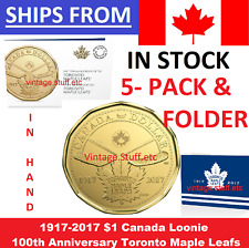 IN HAND 5-PACK 1917 - 2017 $1 Loonie 100th Anniversary Toronto Maple Leafs NHL
