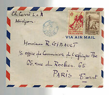1945 Abidjan  Ivory Coast Airmail cover to France