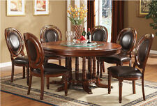 "7PC TRADITIONAL ELEGANCE FORMAL 60"" ROUND CHERRY FINISH WOOD DINING TABLE SET"