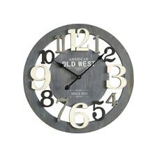 Mobili Rebecca® Orologio a Muro Tondo Legno Grigio Bianco Stile Moderno Ø 60 cm