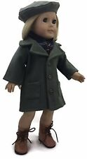 Doll Clothes for 18 inch American Girl-Army Green Wool Coat, Scarf and Beret