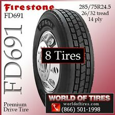 Firestone commercial truck tires FD691 24.5lp 8 tires FREE SHIPPING