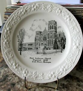 Vintage Decorative Plate First Lutheran Church Iron River Michigan 1890 embossed