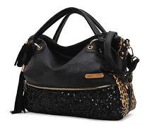 Ladies Leopard Large Totes Fashion Handbags Women Crossbody Bag Sequin Satchels