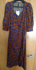 Zara Brown Blue Floral Button Milkmaid Sweetheart Dress Organza Sleeves XS