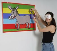 PIN THE TAIL ON THE DONKEY boy or girls classic  Party Game Girl MULTI PLAYER