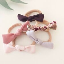 10 X Mystery Hair Tie Pack Bow Girl Baby Toddler Hair Band Fabric Nylon Pink