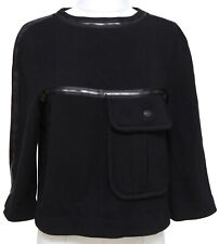 CHANEL Black Sweater Top Knit Shirt 3/4 Sleeve Wool Cashmere Pocket Sz 36