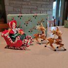 Vintage Lefton Christmas Shopper Girl with Santa Sleigh Two Reindeer Orig Box