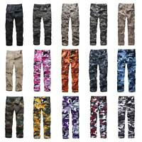 Mens Military Army BDU Pants Casual Multi-Pocket Camouflage Cargo Pants Trousers