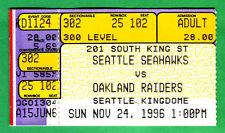11/24/96 SEAHAWKS VS. RAIDERS NFL FOOTBALL TICKET STUB