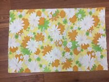 VINTAGE PILLOWCASE 1 STANDARD CANNON YELLOW GREEN ORANGE DAISIES FLORAL 50'S?