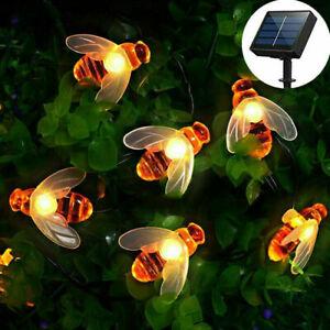 Solar Powered Honey Bee String Lights 30 Led For Garden Outdoor Fairy lamp Decor