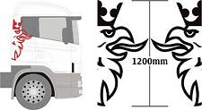 scania truck griffin decals 2x large 1200mm high logos, in any colour, cab sides