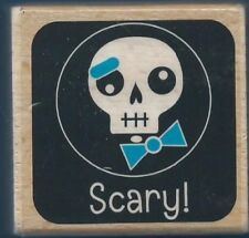 SCARY! SKULL Wounded Halloween Card Studio G Wood Mount Craft RUBBER STAMP New