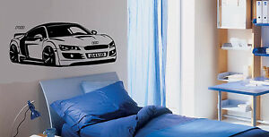 Personalised Sports Car Audi R8 Wall Stickers Audi Decals Audi Murals Car Art