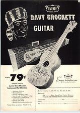 1955 PAPER AD Walt Disney Davy Crockett Emenee Toy Play Guitar