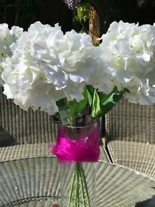 3 Artificial Silk Effect Cream White Ivory Hydrangea Flowers Home Decor Wedding