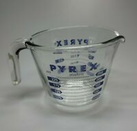 Vintage PYREX 1 Cup BLUE Graphics Measuring Cup Model Metric NICE
