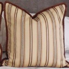 PAIR New RIBBED SILK Striped FRINGED Cushion covers Cream Brown X LARGE 56cm 22""