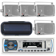 New Marine In-Dash USB SD AUX AM/FM MP3 iPod Receiver 4 Silver Speakers & Cover