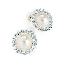 Silver Coloured Crystal Pearl Effect Stud Earrings Ladies Fashion Jewellery