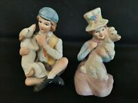 Vintage Ardalt Boy and Girl with Dogs Figurines