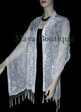 Silk Shawl Wrap Scarf Burnout Velvet Beaded Oblong IVORY Medalion Maya Matazaro