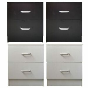 Pair of Bedside Table Cabinet Nightstand Chest of 2 Drawers Black White Redstone
