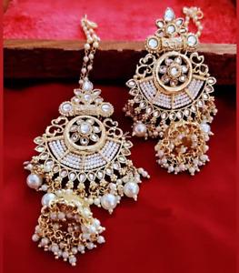 Bollywood Style Gold Plated Indian Jewelry Pearl Kundan Jhumka Earrings Set