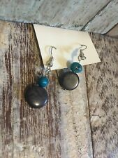 ETHICALLY SOURCED GREY /TURQUOISE TAGUA NUT EARRINGS