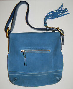 GUC Coach Women's Blue Suede Tassel Shoulder Bag