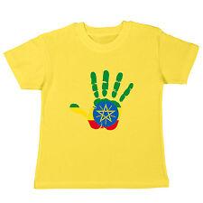 ETIOPÍA - KIDS CAMISETA - Handprint - MANO ESTAMPADO MANO - BANDERA FLAG Etiopía