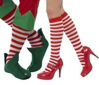 Unisex Vestito Natale Calzini a Righe Rosso / Bianco Clown Wally Elfo da Smiffys